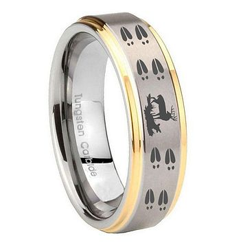 10MM Step Edges Deer Hunting Tracks 14K Gold IP Tungsten Two Tone Men's Ring