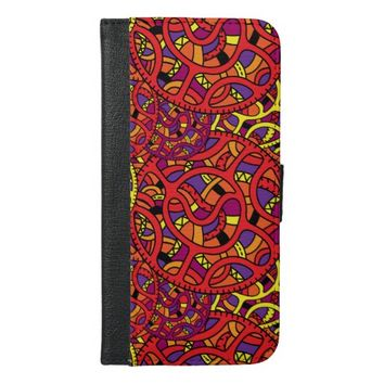 Colorful Organic Pattern iPhone 6/6s Plus Wallet Case