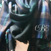 Monogrammed Tartan Scarf Blue Green Womens Oversized Jamie Fraser Colors