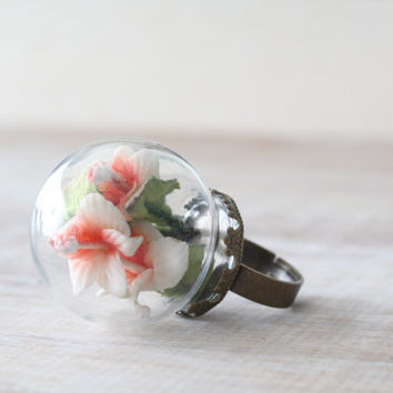 Glass globe dome flower ring, nature jewelry
