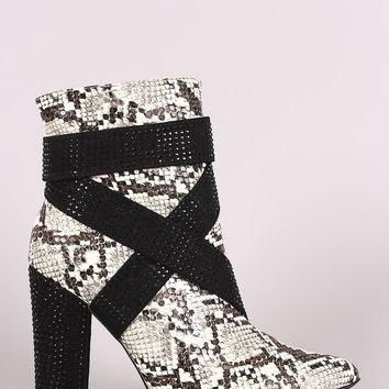 Python Strappy Rhinestone Accent Chunky Heeled Ankle Boots