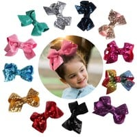 Glittering Sequined Hair Clip Children Baby Toddler Girls Cute Bow-knot Hairpins Fashion Head-wear Hair Accessories