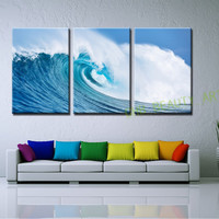 3 Piece Pure Ocean Waves Canvas Art  Modern Wall Painting Wall Pictures For Living Room Seascape Home Decor