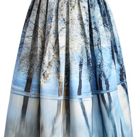 Icy Forest Pleated Midi Skirt Multi