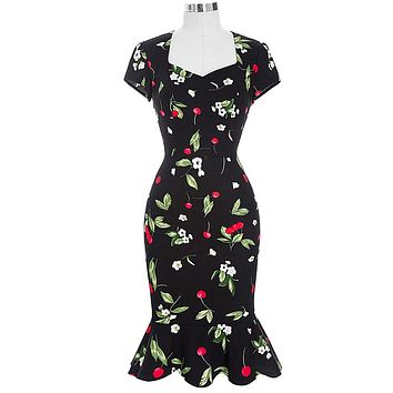 Black Cocktail Dress Retro Vintage Short Sleeve Mermaid Hips-Wrapped Bodycon Summer Party 2016 Elegant Cocktail Dresses BP100