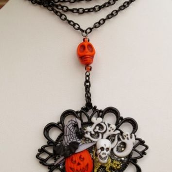 Halloween Collage Infinity Necklace