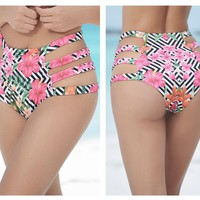 Mapale 6853 Strappy High Waist Swimsuit Bottom Color Blossom Print