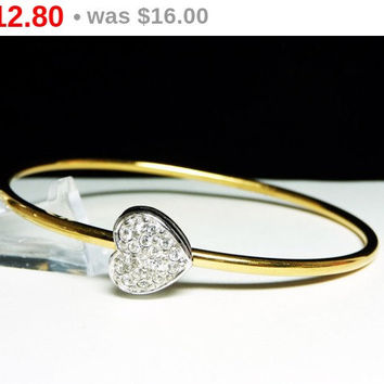 Monet Vintage Heart Bangle Bracelet - Clear Rhinestone Encrusted Heart - Retro Designer Signed Jewelry