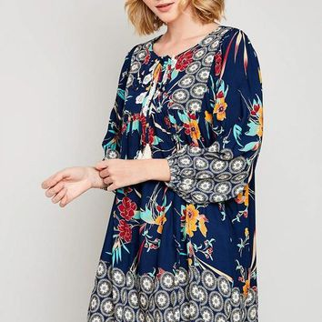Tropical Border Print Peasant Dress