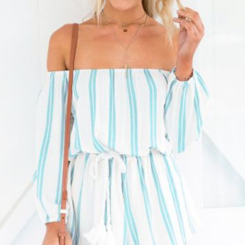Light Blue  Stripes Strapless Romper 11058