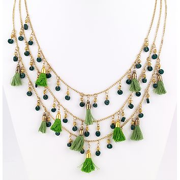Fringe Tassel Necklace Green
