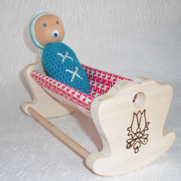 Newborn baby in wooden crib, Pregnancy announcement, Handmade cloth doll, Waldorf pocket doll for toddler, Little girl gifts for birthday
