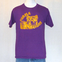 Vintage 80s WASHINGTON HUSKIES GRAPHIC Purple College Sports Football Medium Soft 50/50 T-Shirt