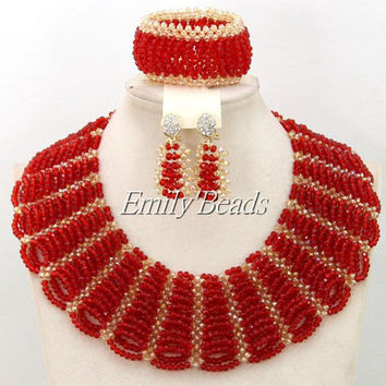 2016 Fashionable Nigerian Wedding African Beads Jewelry Sets Costume Indian Bridal Necklace Jewelry Set Free Shipping AMJ533