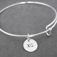 XC Expandable Bangle Bracelet - Sterling Charm with Silver Plated Expandable Bracelet - Cross Country Expandable Bracelet - XC Bracelet