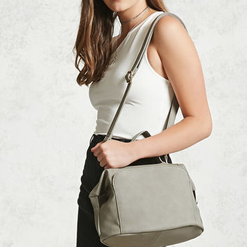 Faux Leather Crossbody Satchel
