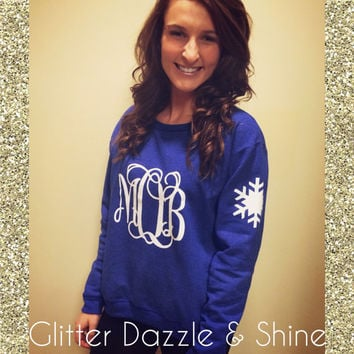 Winter Wonderland Glitter Monogram Crewneck