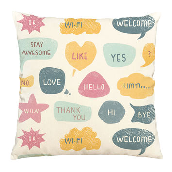 Thought Bubbles Printed Cotton Decorative Pillows Cover Cushion Case VPLC_03