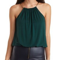 Chain Strap Bubble Hem Tank Top by Charlotte Russe - Shaded Spruce