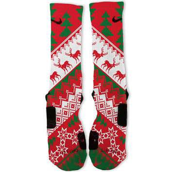 Christmas Sweater Red Customized Nike Elite Socks