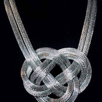 """Silver Mesh Pendant Necklace Double Rope Chains Fashion Statement Huge 18"""" Vintage"""