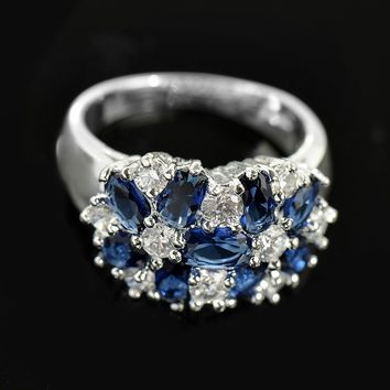 Fashion women 925 sterling  silver sapphire & white topaz gemstones Rings Size 6 7 8 9 10