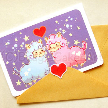 SALE Alpaca Valentine Notecard: Cute Llama Greeting Card, Valentine's Day Card, Cute Animals Card, I Love You Cards, Anniversary Card, Stati