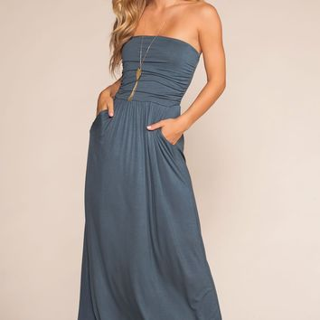 Sunrise Pocket Maxi Dress - Blue