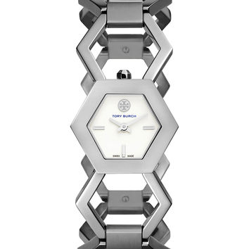 Amelia Silvertone Hexagon-Link Bracelet Watch - Tory Burch Watches