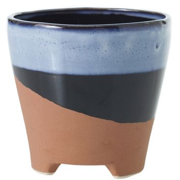 """Azteca Ceramic Flower Pot with Blue and Brown Color Pattern - 5"""" Tall x 5.25"""" Diameter"""