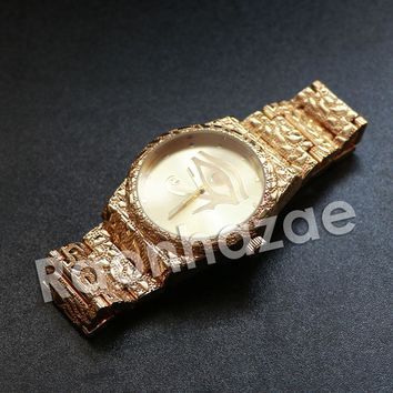"Iced Out Hip Hop ""Eye of Horus"" Gold Face Gold Nugget Watch"