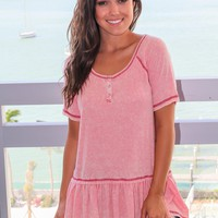 Peach Top with Ruffle Hem