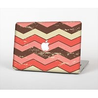 """The Scratched Coral & Brown Layered Chevron V4 Skin Set for the Apple MacBook Pro 13"""" with Retina Display"""