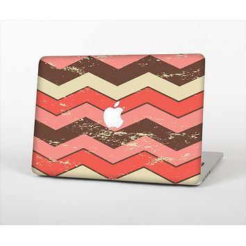 "The Scratched Coral & Brown Layered Chevron V4 Skin Set for the Apple MacBook Pro 13"" with Retina Display"