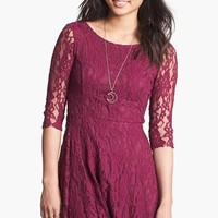 Lush Three Quarter Sleeve Lace Skater Dress (Juniors)