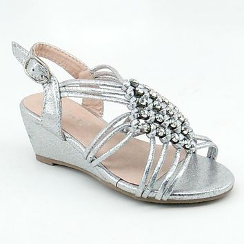 Girl's Silver Shimmery Wedge Sandal with Clear Rhinestones