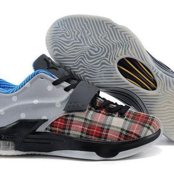 DCCKIJ2 Nike Men's Durant Zoom KD 7 Basketball Shoes Grey Black