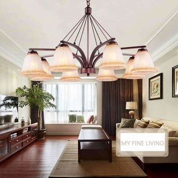 Modern Glass Lamp Shades Chandelier Ceiling Led Light Living Room Kitchen Home Wedding Decor Wrought Iron Lustre E27 110-220V