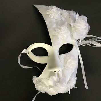 Handmade white masquerade masks lace floral decor latex female  half face mask party wedding mask