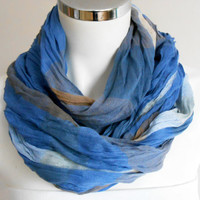 Men's scarves, Striped men's scarf, Organic linen, Brown gray blue scarf, Striped scarf men, For men gifts, Men scarves, Men's striped scarf