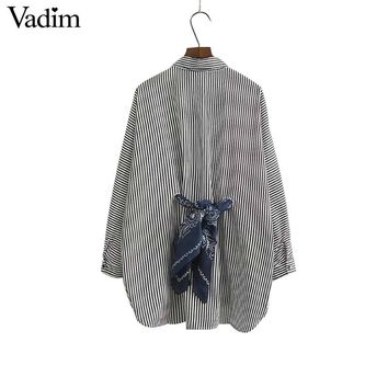 Women elegant sashes striped loose shirts work office wear long sleeve blouses tops