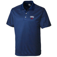 SMU Mustangs Cutter & Buck Crewhouse Striped Polo – Royal Blue