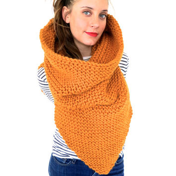 Chunky Soft Knit Poncho, Scarf, Cowl, Hood All in One // Armor Scarf  in Harvest Moon // Many Colors and Vegan Options Available