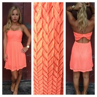 Neon Coral Textured Strapless Cutout Back Dress