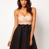 Rare Sequin Bandeau Prom Dress With Bow Belt