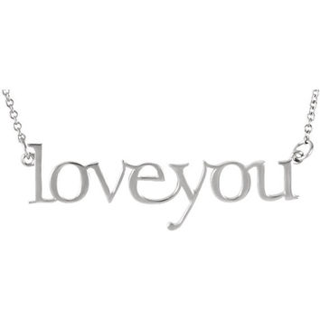 Love You Necklace Solid 14k White Gold Necklace Statement Necklace Choker Necklace Rose Gold Bar Necklace Dainty Necklace Gifts For Her