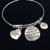 Family Where Life Begins and Love Never Ends Mom Expandable Charm Bracelet Adjustable Wire Bangle Gift Trendy Mother's Mom Gift