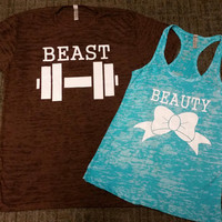 Free US Shipping  Fast Processing Matching BEauty and The Beast Couples Tshirts and  Tanks Brown and Tahiti Blue