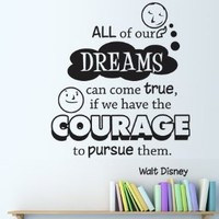 Vinyl Wall Decal Sticker Disney Dreams Quote OS_DC301s: Home & Kitchen