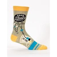 Corn Hole So Stupid So Fun Men's Socks in Grey, Yellow and Teal Blue
